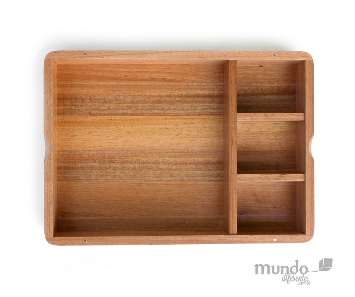 WoodBox  caixa de Madeira Personalizada com Divisória - Jequitibá Rosa