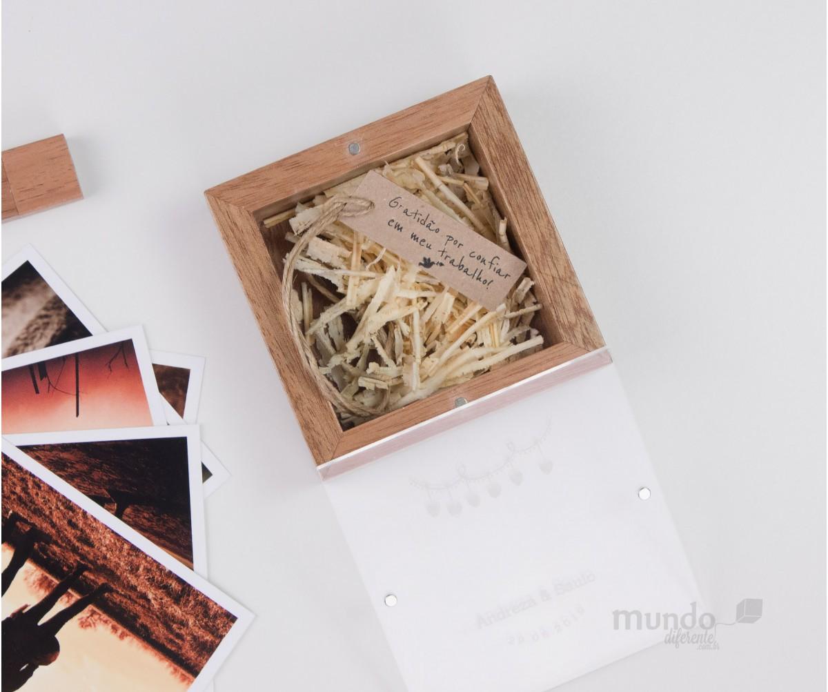 New Cute Box - Caixa de Madeira Jequitiba Rosa com tampa acrílica Personalizada