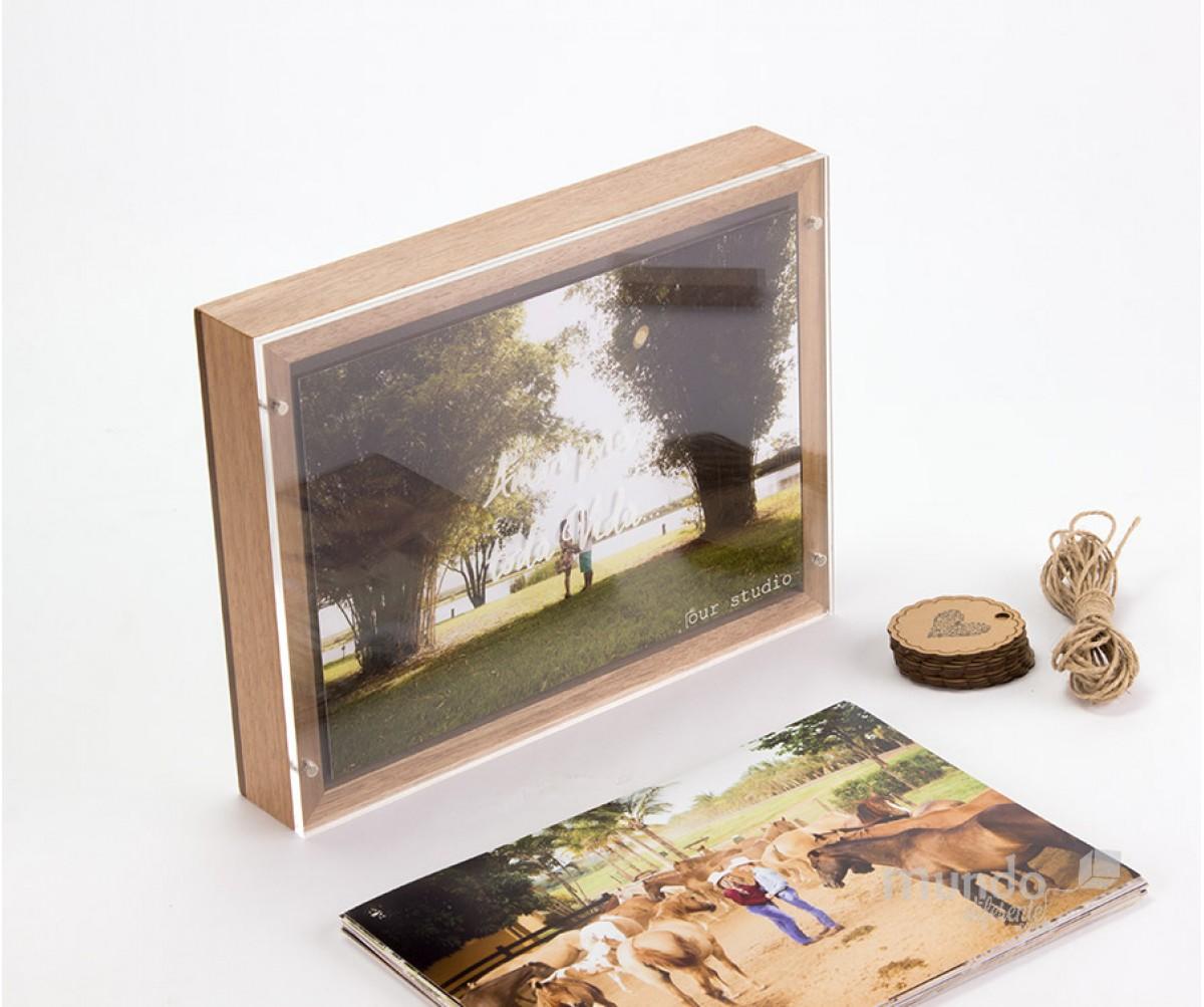 Frame Box Caixa para Fotos 15x21 em Jequitiba Rosa