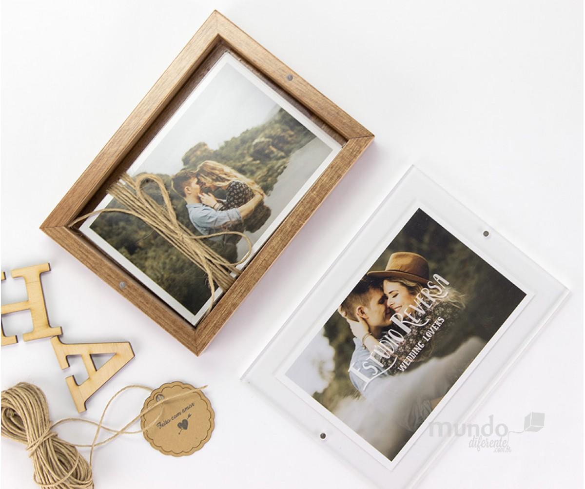 Frame Box Caixa para Fotos 10x15 em Jequitiba Rosa