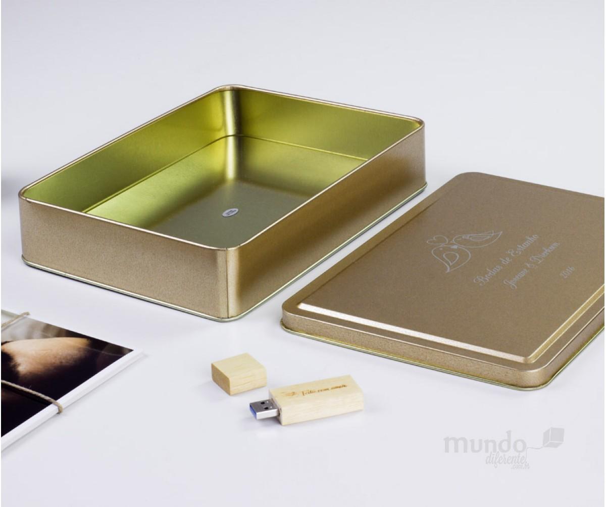 Lata Personalizada 23x16cm Dourada