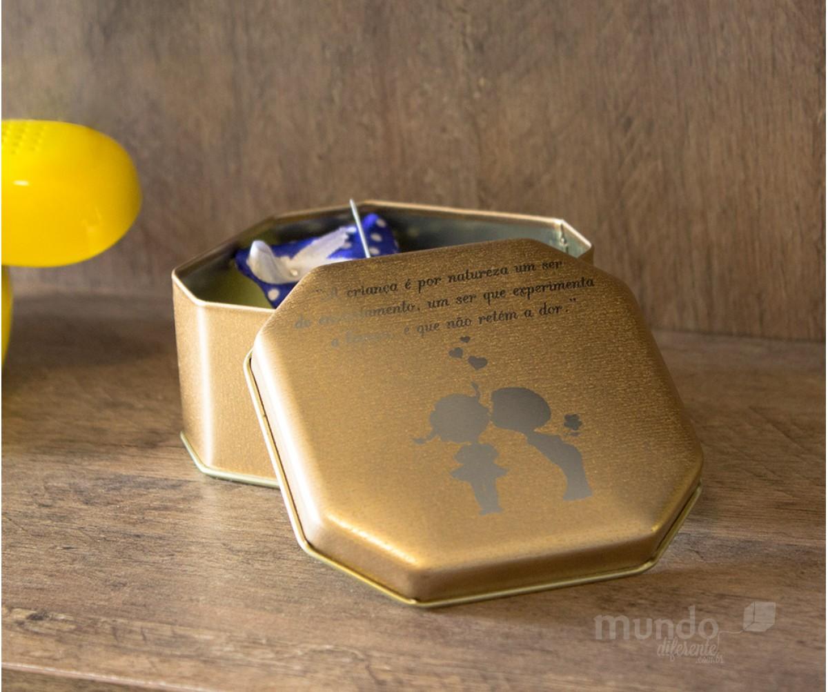 Lata Personalizada Octagonal  Dourada