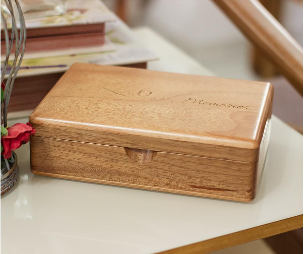 Memory Box Plus - Caixa de Madeira em Jequitibá Rosa Personalizada 19x12cm