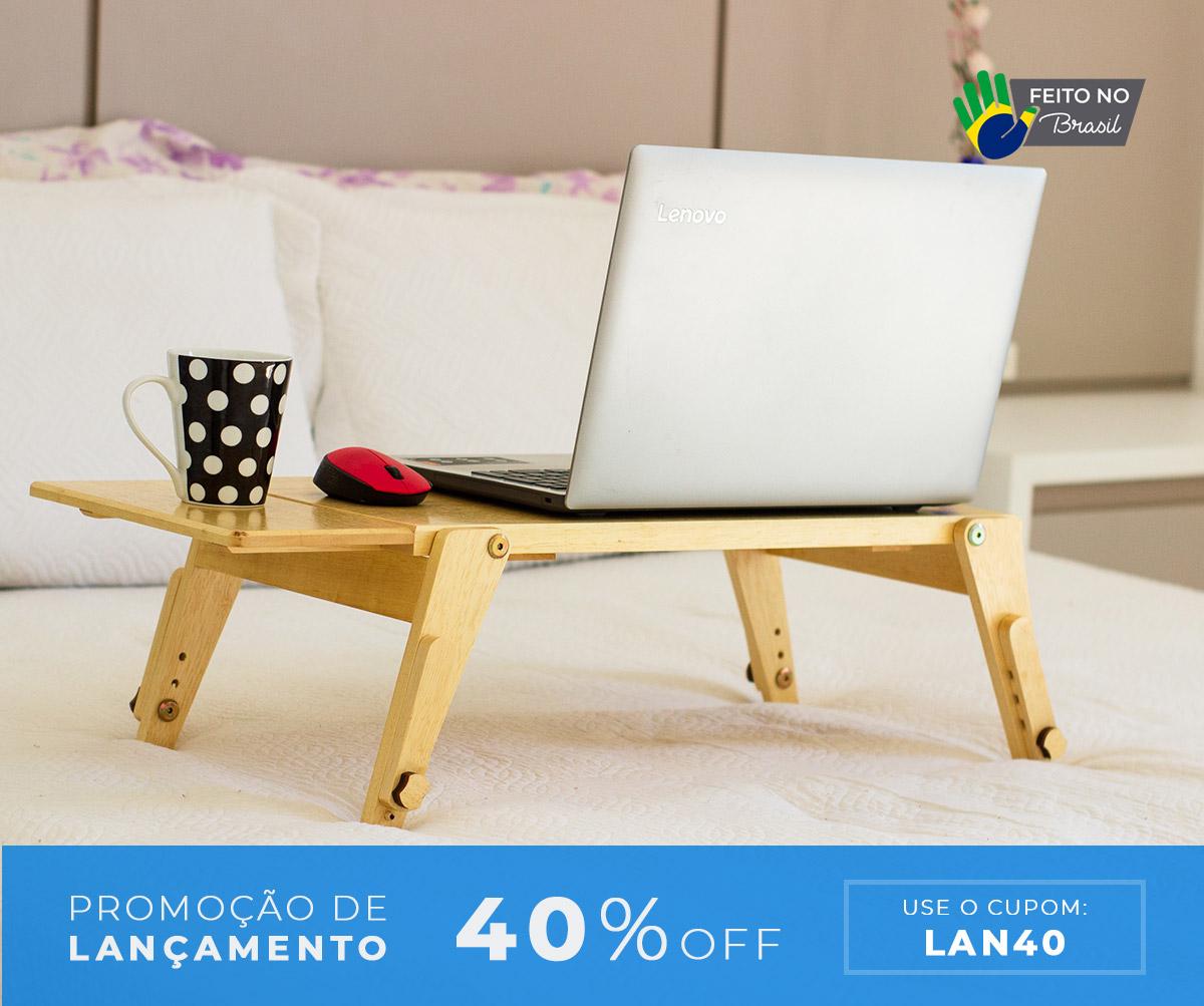 Mesa multiuso para notebook em madeira maciça com pés ajustáveis + Suporte para Mouse