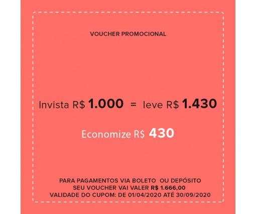 Voucher Promocional Pague R$ 1000,00 e leve R$ 1.430,00 em produtos