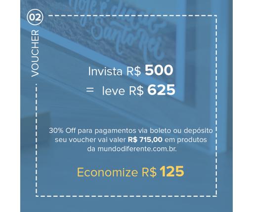 Voucher Promocional Pague R$ 500,00 e leve R$ 625,00 em produtos